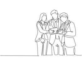 Single continuous line drawing of standing young male and female manager discussing company strategy to increase sales. Business marketing concept one line graphic draw design vector illustration