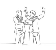 One continuous line drawing of young happy business man hugging his friend to celebrate their successive business deal. Business contract success concept single line draw design vector illustration