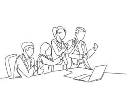 One single line drawing of young happy business man and business woman celebrate their success to deal a new business contract. Business meeting concept continuous line draw design vector illustration