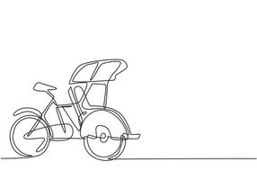 Continuous one line drawing pedicab is viewed from the side with three wheels and the front passenger seat and the driver's controls at the rear. Single line draw design vector graphic illustration.