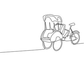 Single one line drawing pedicab with three wheels and passenger seat at the front and driver control at the rear are often found in Indonesia. Continuous line draw design graphic vector illustration.