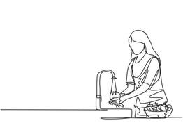 Continuous one line drawing a woman was washing the fruit in the sink from the bacteria that stick to it thoroughly. Using splash and water flow. Single line draw design vector graphic illustration.