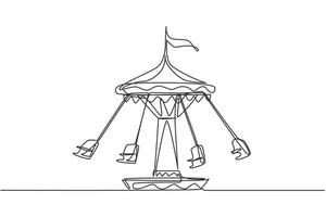 Continuous one line drawing wave swinger in the amusement park with four seats and a flag above. The passengers can swing around in the sky. Single line drawing design, vector graphic illustration.