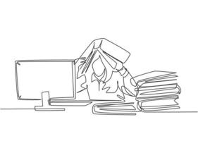 One single line drawing of young depression female employee sitting in front of computer and stack of papers and covered her head with folder. Worker concept continuous line draw design illustration vector
