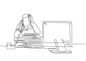 Single continuous line drawing of young bored male worker receiving phone call from customer behind stack of paper. Daily overload job at the office concept. One line draw design vector illustration