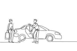 Single one line drawing of male taxi drivers are inviting prospective passengers to get inside and deliver them to their destination. Modern continuous line draw design graphic vector illustration.