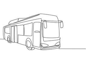 Los autobuses urbanos de dibujo de una sola línea continua que sirven a los empleados que viajan diariamente y a los estudiantes escolares salen de sus hogares a sus respectivos destinos. Ilustración de vector de diseño gráfico de dibujo de una línea.