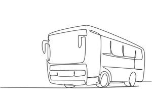 Continuous one line drawing express buses that serve inter-city passenger trips between provinces and can also be used by tourists. Public vehicle. Single line draw design vector graphic illustration.