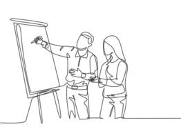 Single continuous line drawing of male CEO explaining business process to his partner with infographic on flip chart. Startup work meeting concept. One line draw graphic design vector illustration