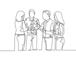 One single line drawing of project manager explain company business process to young male and female apprentices at office. Business internship concept continuous line draw design vector illustration