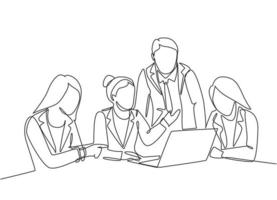 One single line drawing of young happy female CEO presenting new technology innovation to the members at the office. Startup work life. Concept continuous line draw design vector graphic illustration