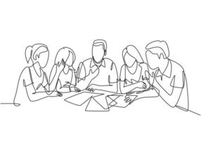 One single line drawing of young startup founders brainstorming innovation ideas in a meeting at the office. Business presentation concept continuous line draw design vector graphic illustration