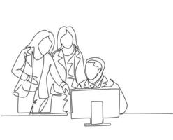 One continuous line drawing of young CEO train female team members to keep thinking of creating innovation at the office. Job training concept. Single line draw design vector graphic illustration
