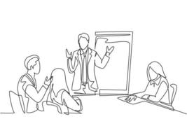 One single line drawing of young businessman giving business coaching to class members at the office. Group training and meeting concept continuous line draw design vector illustration graphic