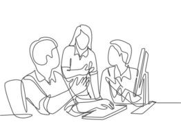 One continuous line drawing of young businessmen discussing new product launch during team meeting. Business innovation discussion concept. Modern single line draw design graphic vector illustration