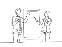 dibujo de línea continua única de un joven entrenador de negocios masculino y femenino feliz hablando frente a la clase. Curso de coaching y concepto de reunión Ilustración de vector gráfico de diseño de dibujo de una línea