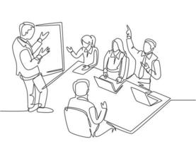One single line drawing of young business manager giving presentation to train apprentices at the office during meeting. Job training concept continuous line graphic draw design vector illustration