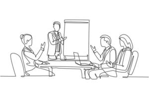 Single continuous line drawing of young happy business instructor teaching interpersonal skill to the attendees during presentation. Business training concept one line draw design vector illustration