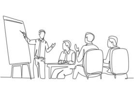 One continuous line drawing of happy trainer teaching lifeskill and interpersonal skill lessons to the young CEOs. Business training and meeting concept single line draw design vector illustration