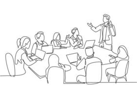 Single continuous line drawing of young happy trainer giving lifeskill lesson to the class members. Business training and presentation concept. Modern one line draw design vector illustration graphic