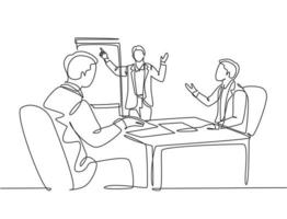 Single continuous line drawing of young happy business coach presenting lesson to class members. Business meeting and presentation concept. Modern one line draw design graphic vector illustration