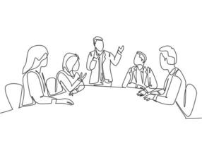 One continuous line drawing of young happy board of directors discussing company profit sharing during meeting. Business training concept. Trendy single line draw design vector graphic illustration