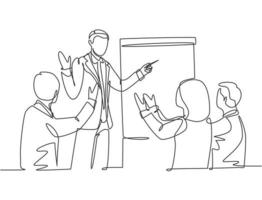Single continuous line drawing of young happy business trainer presenting great lesson and clapped by the audience during meeting. Team training concept. Trend one line draw design vector illustration
