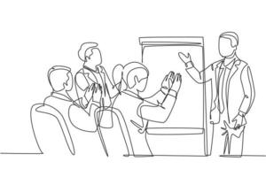 Single continuous line drawing of young happy startup founder presenting business proposal to the investors and get applause. Business pitching concept one line draw design graphic vector illustration