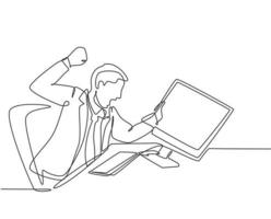 Single continuous line drawing of young frustrated employee ready to punch monitor computer using his fist hand. Work pressure at the office concept one line draw graphic design vector illustration