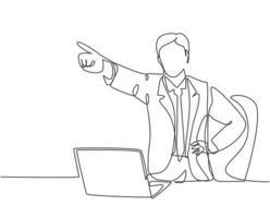 un dibujo de línea continua del joven gerente hombre furioso señaló con su dedo y alejó a su personal despedido de la habitación. Ilustración de vector de diseño de sorteo de una sola línea de concepto de despido de trabajo