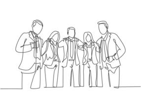 One continuous line drawing of young male and female business people from multi ethnic standing together and posing elegantly. Unity in diversity concept single line draw design vector illustration