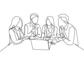 One continuous line drawing of young CEO presenting company business model to female team members at the office. Business meeting concept. Modern single line draw design graphic vector illustration