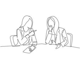 One continuous line drawing of two young happy business woman discussing project contract together during meeting. Business deal concept. Modern single line draw design graphic vector illustration