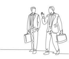 One single line drawing of two young company manager take a walk and talk together after office hour. Business conversation concept. Trendy continuous line draw graphic design vector illustration