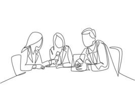 One single line drawing of young company founders brainstorming innovation ideas in a business meeting with colleagues. Startup process concept. Continuous line draw design graphic vector illustration