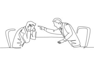 One single line drawing of young furious manager pointing finger to his frustrated staff and blaming the staff about bad work performance concept. Continuous line draw design vector illustration