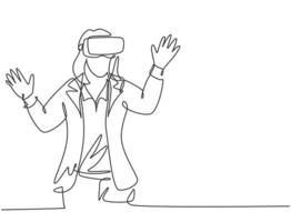 One single line drawing of young happy gamer business woman wearing virtual reality helmet and try to touch. Smart technology futuristic game concept continuous line draw design vector illustration