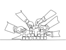 Single continuous line drawing of business team member arrange wooden cube block become sturdy tower together to improve team building. Teamwork concept one line draw design vector illustration