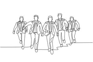 One continuous single line drawing of male managers wearing suit doing sprint race at the running track to reach finish line. Business Sprint race concept single line draw design vector illustration