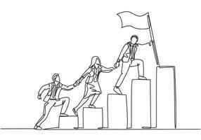 dibujo de una sola línea continua de los miembros del equipo tomados de la mano juntos siguiendo a su líder que sostiene la bandera subiendo escaleras paso a paso. concepto de trabajo en equipo una línea dibujar diseño ilustración vectorial vector