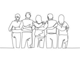 Single continuous line drawing about group of men and woman from multi ethnic standing and hugging together to show their unity bonding. Friendship concept one line draw design vector illustration