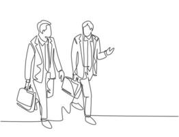 Single continuous line drawing of young happy business men talking to his colleagues when walking approaching the office. Business conversation concept. One line draw design vector illustration