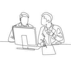Single continuous line drawing of two young happy business owner discussing product innovation with partner. Brainstorming during business meeting concept one line draw design vector illustration