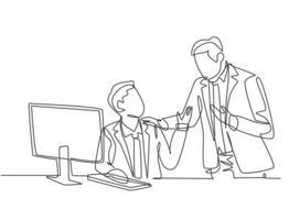 un dibujo de una sola línea del joven gerente toma una charla para enseñar a los nuevos empleados cómo terminar el trabajo durante el trabajo en la oficina. Trabajo tutor concepto línea continua dibujar diseño gráfico ilustración vectorial vector