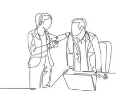 One continuous line drawing of young male and female employees engage in exciting conversations during office breaks. Rest break at work concept single line draw design vector graphic illustration