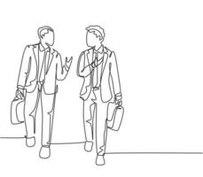 One single line drawing of two young company business men take a walk and talk together after company meeting. Business conversation concept continuous line draw design graphic vector illustration