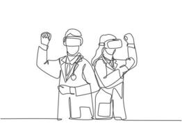 One continuous line drawing of two young male and female doctor playing adventure game using virtual reality devices. Modern video game player concept single line draw design vector illustration