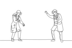 Single continuous line drawing of young male and female doctor ready to punch each other while playing simulation game. Virtual reality game player concept one line draw design vector illustration
