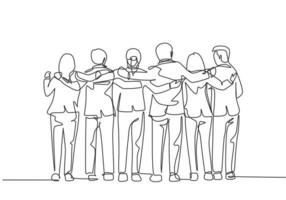 One single line drawing about group of men and woman from multi ethnic standing together to show their friendship bonding. Unity in diversity concept continuous line draw design vector illustration