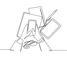 un dibujo de una sola línea de la mano del dedo del gesto que sostiene el dispositivo del teléfono inteligente con una pila de libros y vasos debajo. concepto de gadget de telecomunicaciones. Ilustración de vector de diseño de dibujo de línea continua de moda